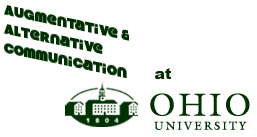 Ohio University 1804 logo with augmentative and alternative communication above
