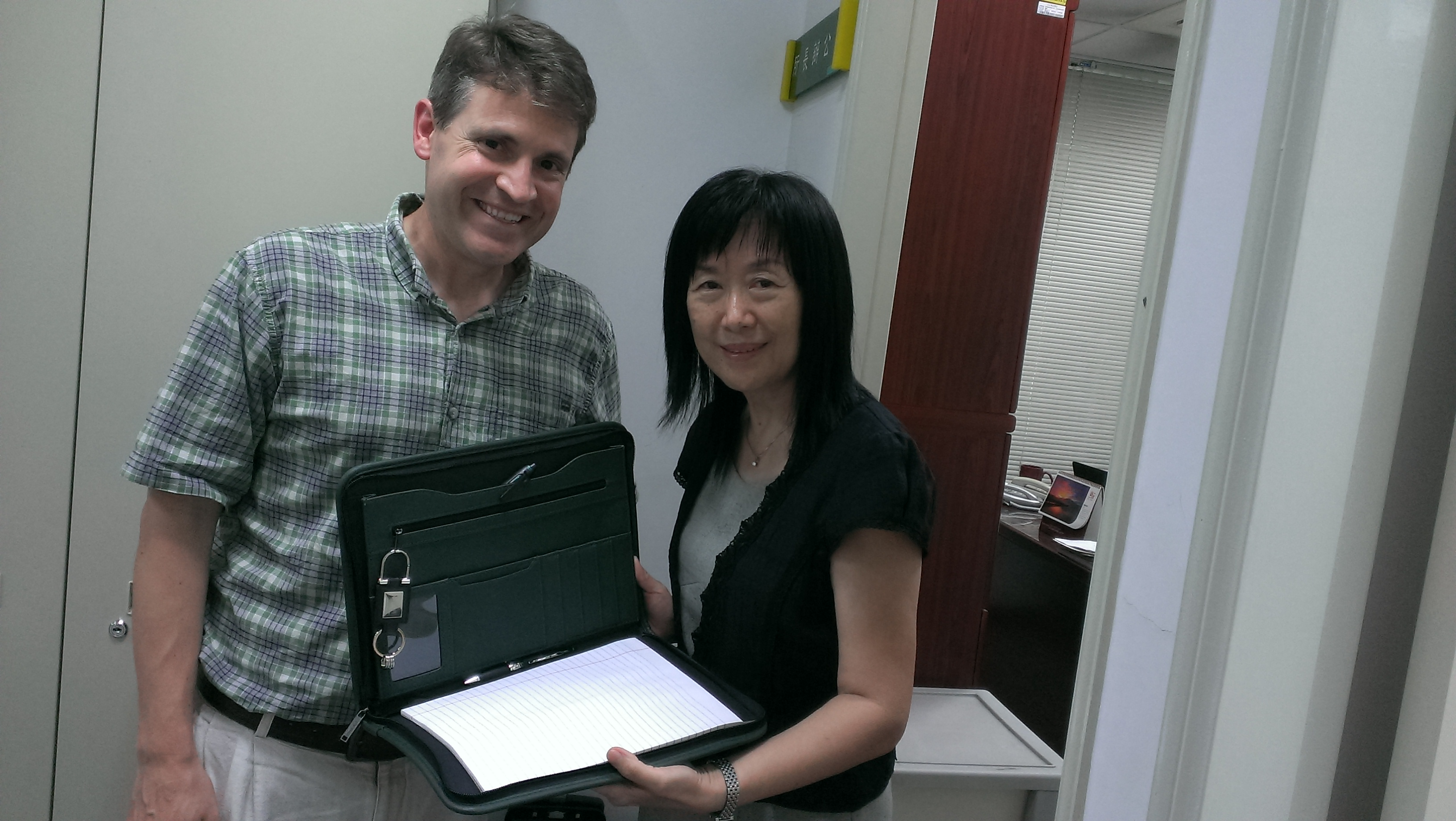 Photo of John McCarthy with Dr. Chen, Chair of speech and hearing disorders and sciences at NTUNHS