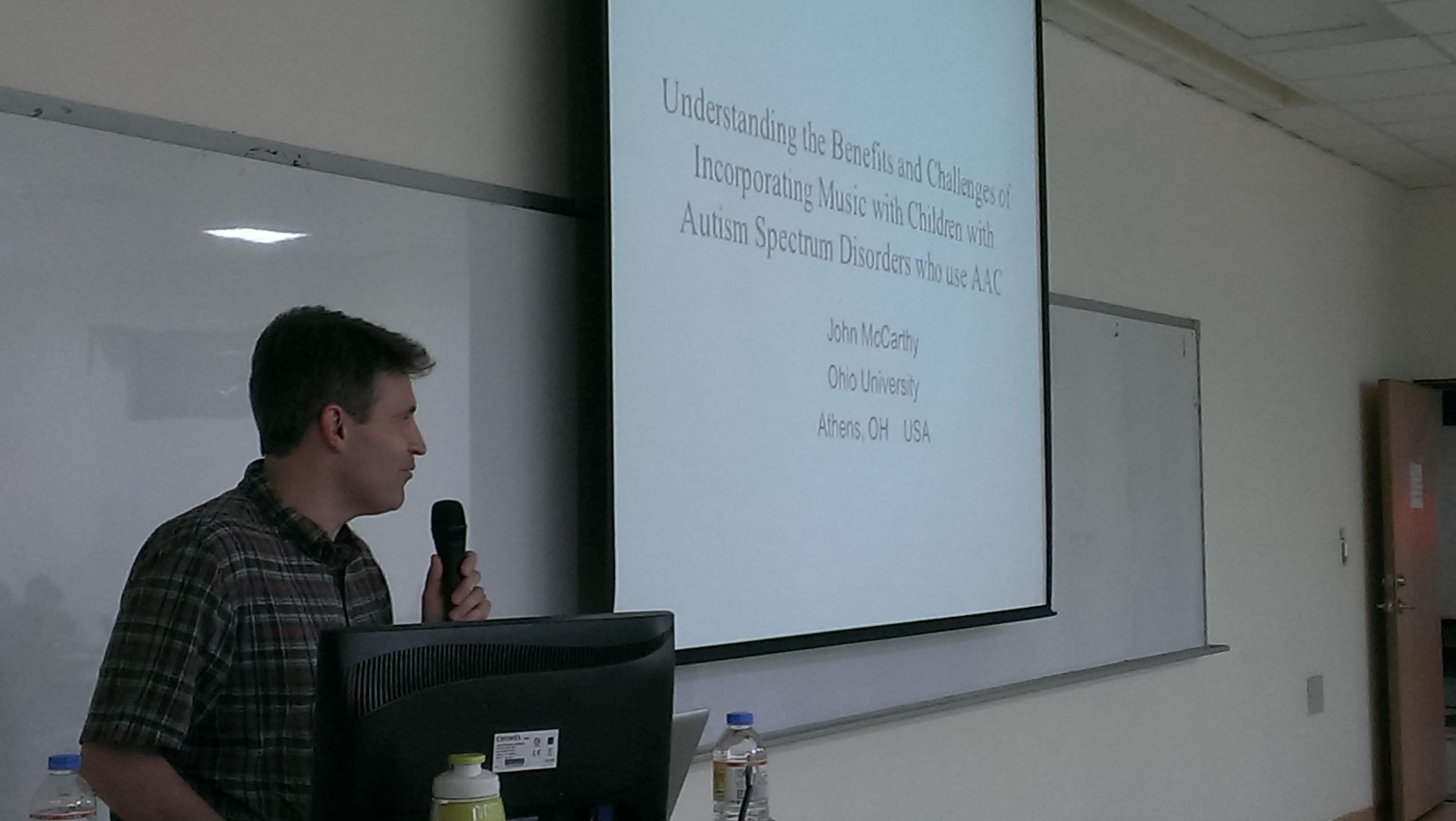 Photo of John McCarthy presenting at Chung Shan Medical University