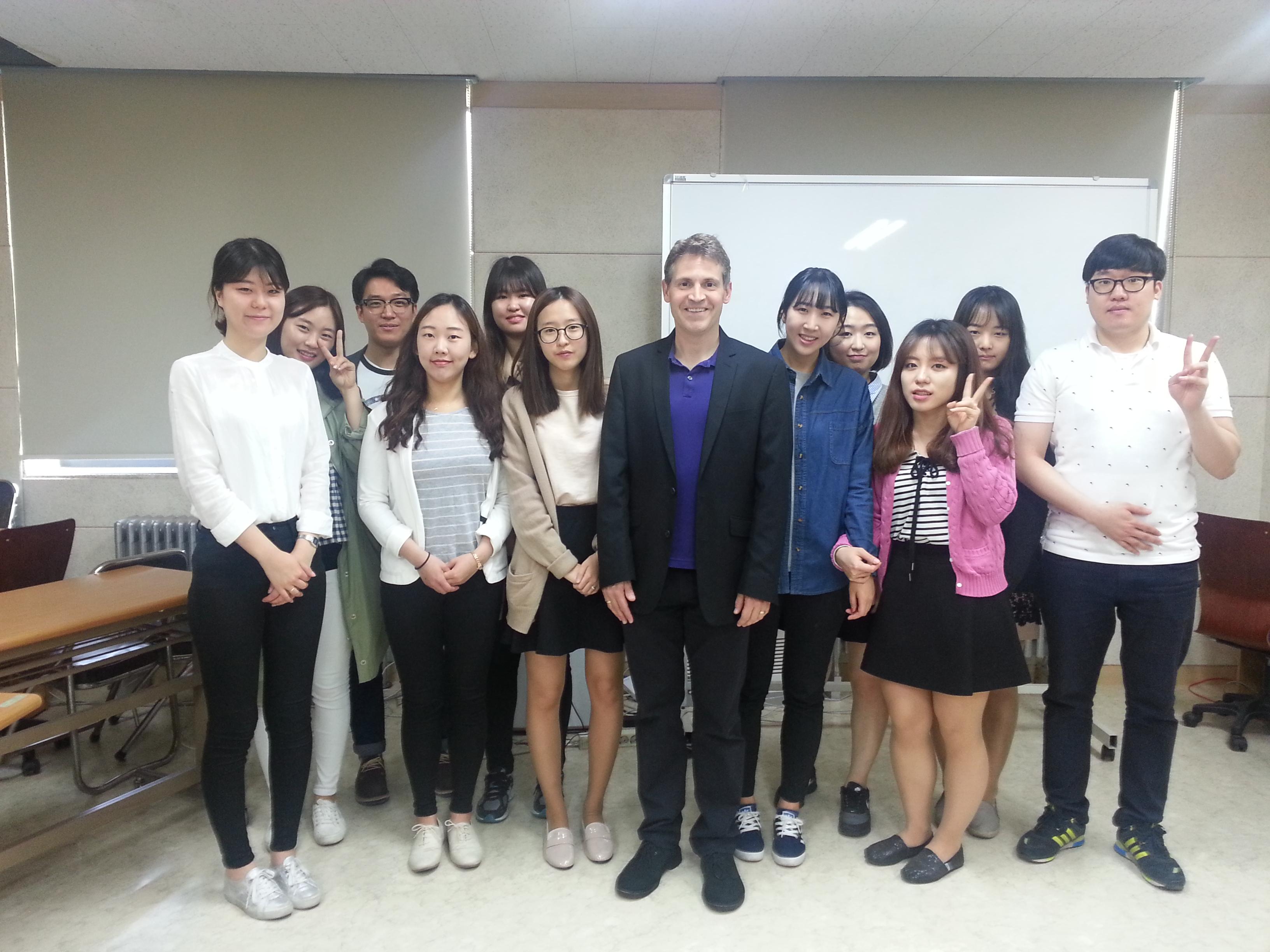 Photo of John McCarthy with CSD students at Hallym University