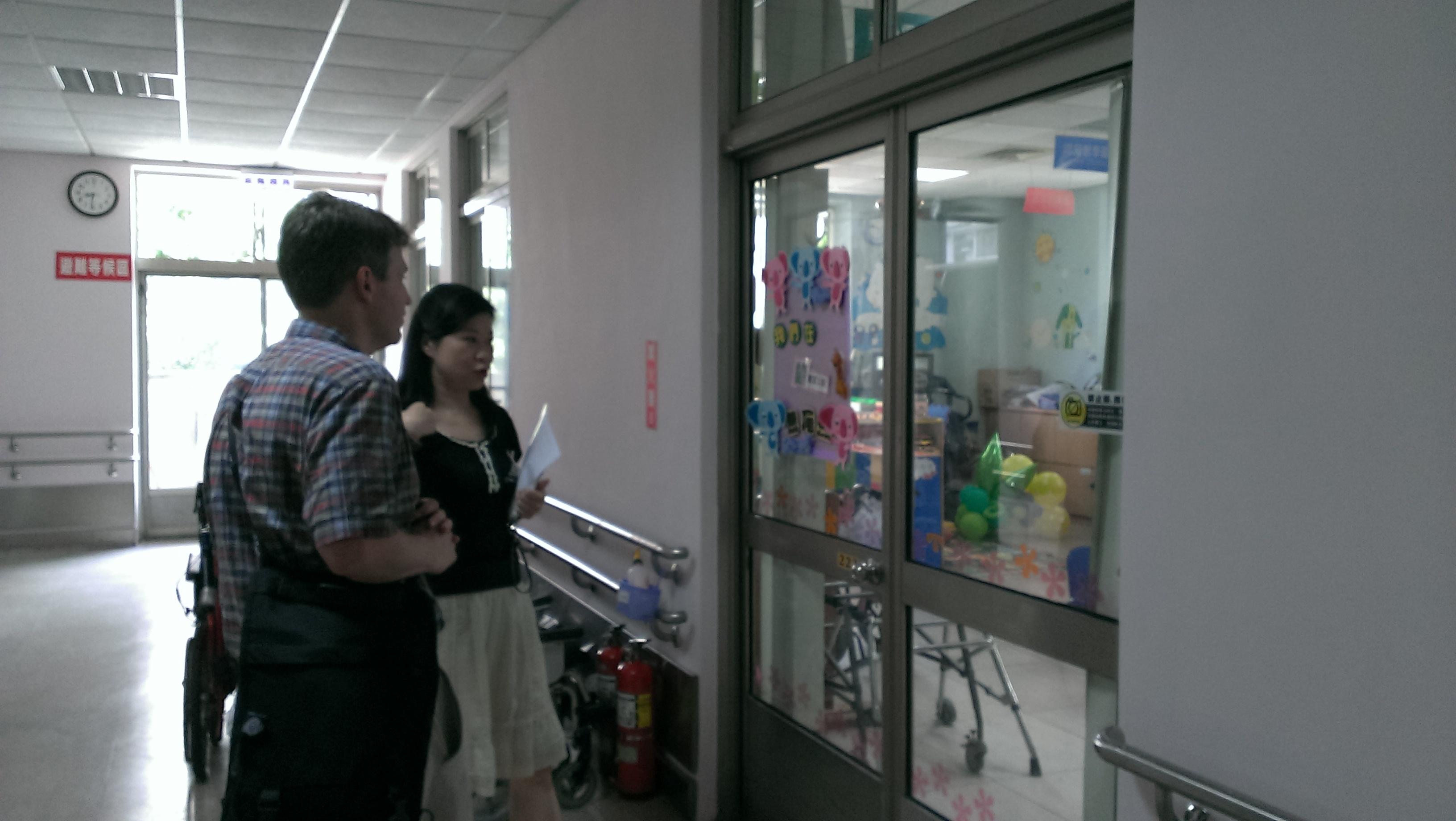Photo of John McCarthy at Love Home-Maria Social Welfare Foundation in Taichung, Taiwan with Iris Lee, SLP